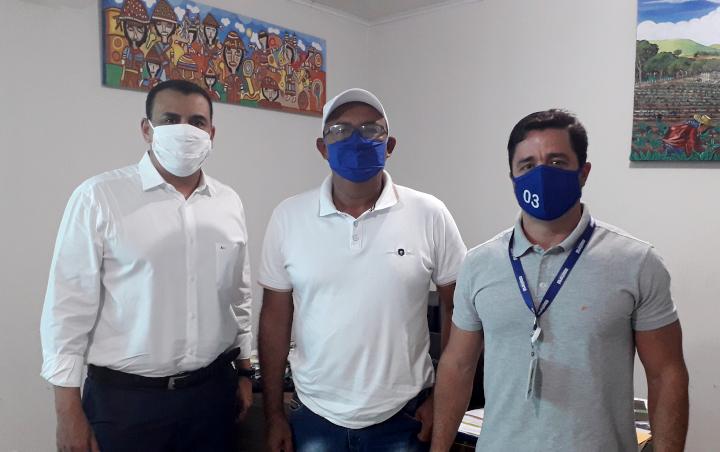 Givaldo Teles (pres. da Fetag/AL) e os executivos Carlos Humberto Guimarães e Sergio Manoel Miranda da Equatorial Energia Alagoas